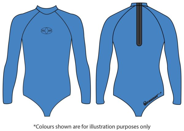 SPRINGS full back freediving wetsuit top outline